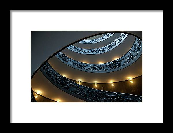Italian Culture Framed Print featuring the photograph Spiral Staircase At The Vatican by Mitch Diamond