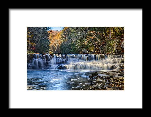 Background Framed Print featuring the photograph Squaw Rock - Chagrin River Falls by Jack R Perry
