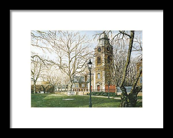 St Johns Framed Print featuring the painting St Johns Church Wapping London by Mackenzie Moulton