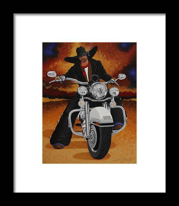 New West Framed Print featuring the painting Steel Pony by Lance Headlee