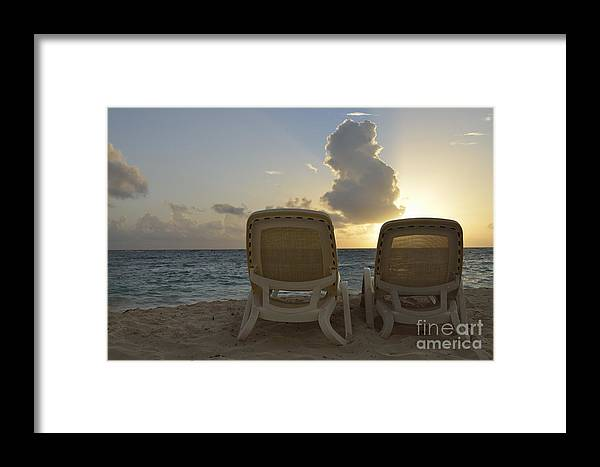 Tranquil Scene Framed Print featuring the photograph Sun Lounger On Tropical Beach by Sami Sarkis
