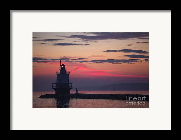 Lighthouse; Spring Point Lighthouse; Sunrise; Maine; Morning; Vibrant Color; Beacon; Beautiful; Ocean; Casco Bay; Clouds; Water Framed Print featuring the photograph Sunrise At Spring Point Lighthouse by Diane Diederich