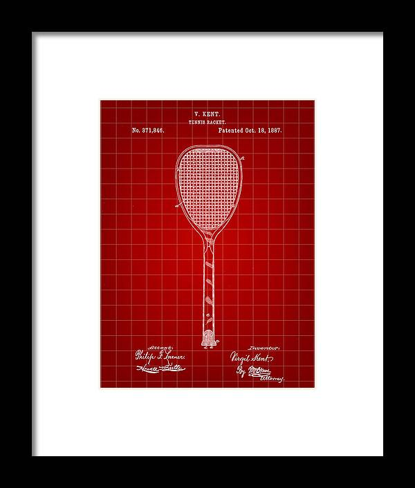 Tennis Framed Print featuring the digital art Tennis Racket Patent 1887 - Red by Stephen Younts