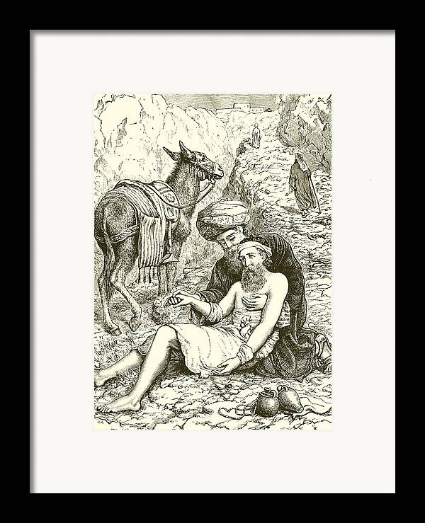 Bible Framed Print featuring the drawing The Good Samaritan by English School