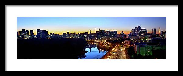 Tokyo Tower Framed Print featuring the photograph Tokyo Panorama At Sunrise by Vladimir Zakharov