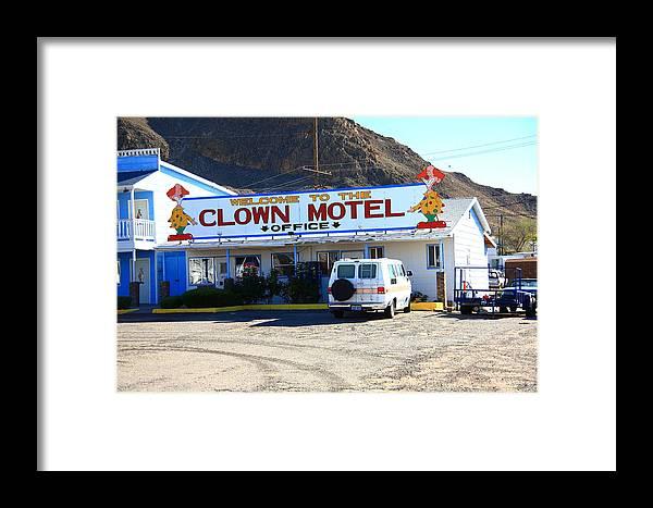 America Framed Print featuring the photograph Tonopah Nevada - Clown Motel by Frank Romeo