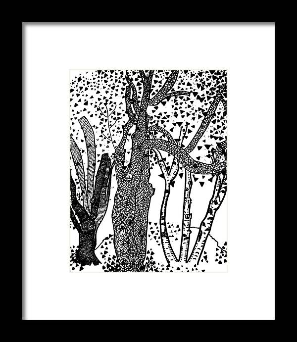 Picasso Framed Print featuring the painting 3 Trees Tree Cubed Tree Four Tree Cubed Black White by Lois Picasso