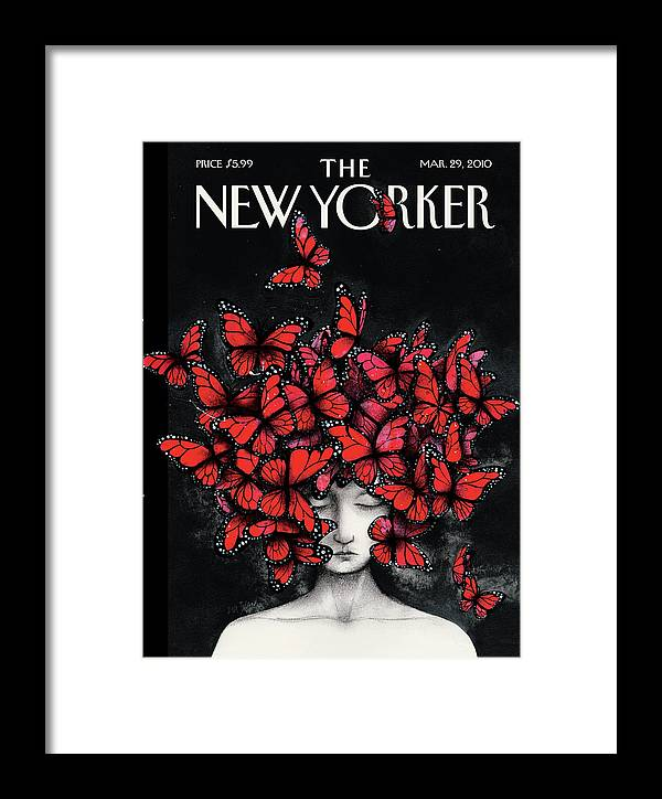 Butterflies Framed Print featuring the painting New Yorker March 29th, 2010 by Ana Juan