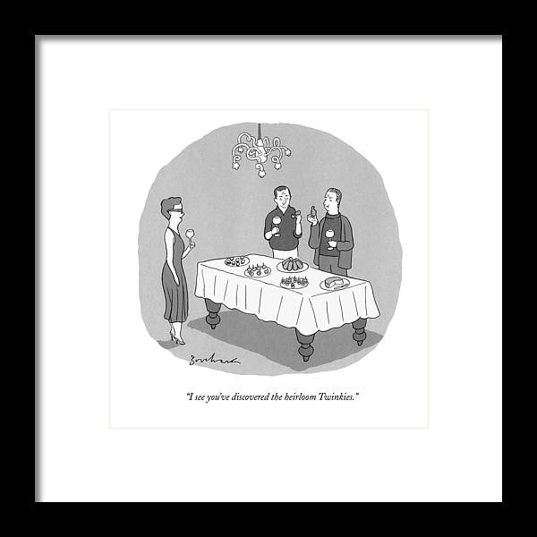 Dinner Party Framed Print featuring the drawing I See You've Discovered The Heirloom Twinkies by David Borchart