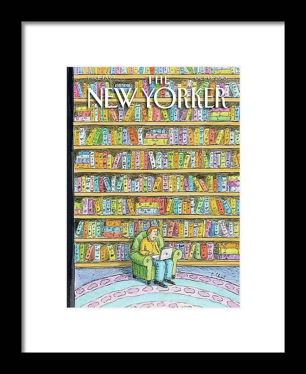 Computer Framed Print featuring the painting New Yorker October 18th, 2010 by Roz Chast