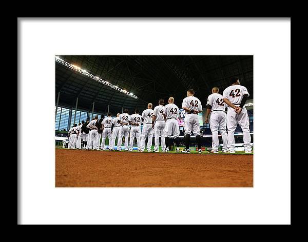 American League Baseball Framed Print featuring the photograph Washington Nationals V Miami Marlins by Mike Ehrmann