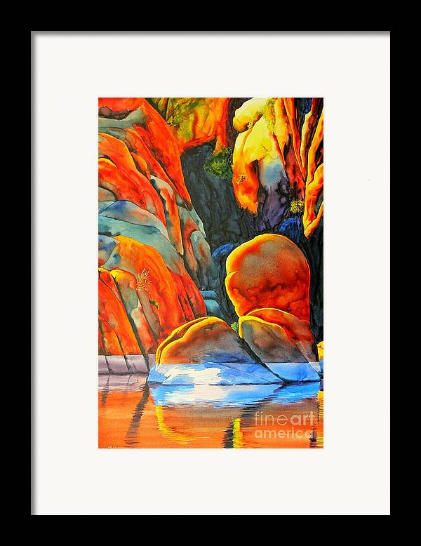 Watercolor Framed Print featuring the painting Watson Lake by Robert Hooper