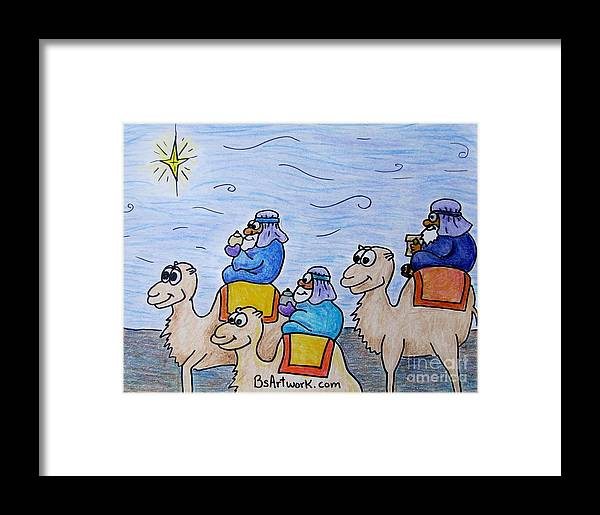 Camels Wise Men Jesus Christmas North Star Wizard Zoo Animals Gifts Noah Mary Baby Israel Bethlehem Bethlahem Bethlaham Framed Print featuring the drawing 3 Wise Men by Bruce Semon