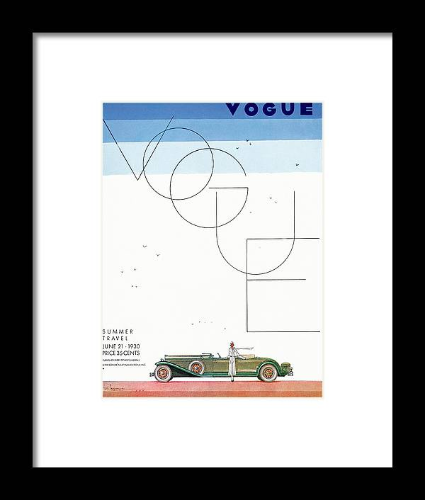 Illustration Framed Print featuring the photograph A Vintage Vogue Magazine Cover Of A Woman by Georges Lepape
