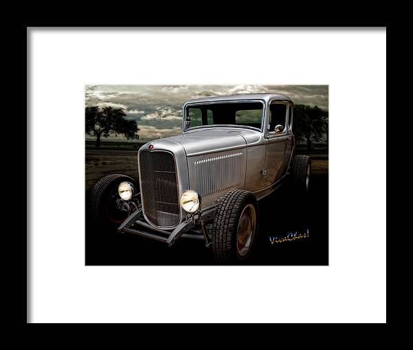 1932 Framed Print featuring the photograph 32 5 Window Coupe Rainy Day Cruise by Chas Sinklier