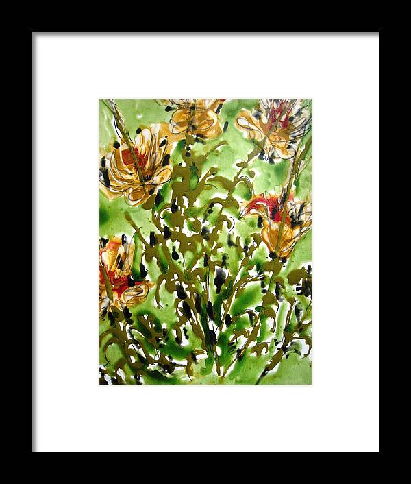 Floral Art Framed Print featuring the painting Zenmoksha Flowers by Baljit Chadha