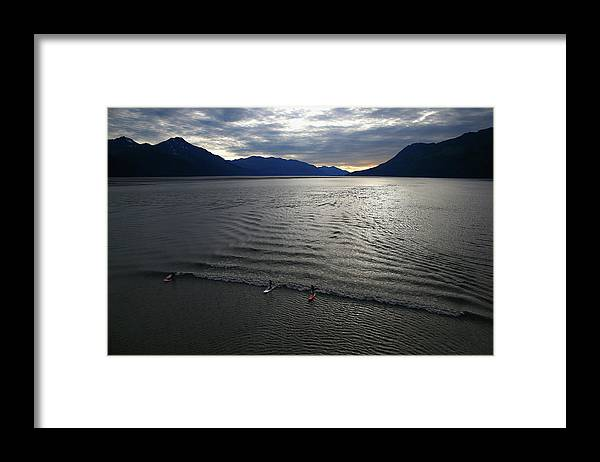 Tidal Bore Framed Print featuring the photograph Feature - Bore Tide Surfing In Alaska by Streeter Lecka