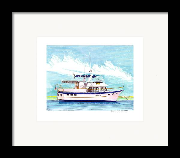 Yacht Portraits Framed Print featuring the painting 37 Foot Marine Trader 37 Trawler Yacht At Anchor by Jack Pumphrey