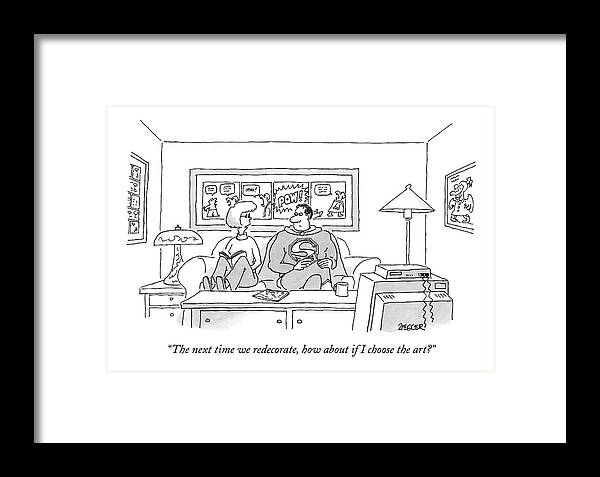 Fictional Characters Interiors Pop Art  (wife Talking To Superman About The Comic Book Art Decorating The Room. ) 122533 Jzi Jack Ziegler Framed Print featuring the drawing The Next Time We Redecorate by Jack Ziegler
