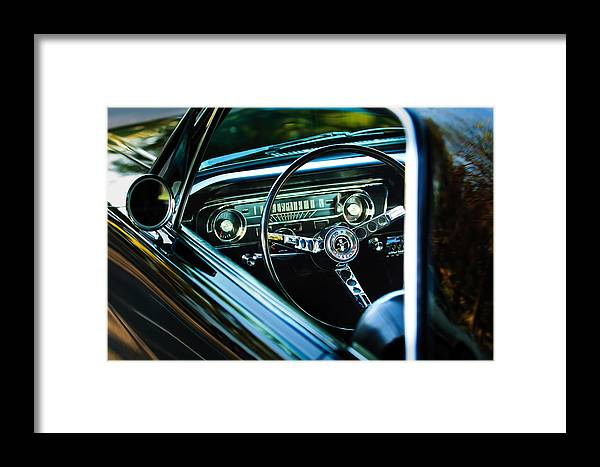 1965 Shelby Prototype Ford Mustang Steering Wheel Emblem Framed Print featuring the photograph 1965 Shelby Prototype Ford Mustang Steering Wheel Emblem by Jill Reger