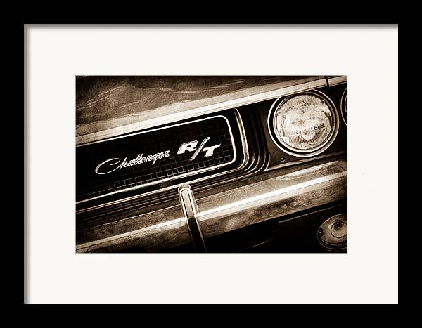 1970 Dodge Challenger Rt Convertible Grille Emblem Framed Print featuring the photograph 1970 Dodge Challenger Rt Convertible Grille Emblem by Jill Reger