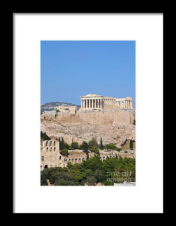 Acropolis; Acropoli; Akropoli; Akropolis; Parthenon; Erechthion; Erechtheion; Monument; Theatre; Herodus Atticus; Odeon; Athens; City; Capital; Attica; Attika; Attiki; Greece; Hellas; Greek; Hellenic; Europe; European; Temple; Ancient; Sunshine; Holidays; Vacation; Travel; Trip; Voyage; Journey; Tourism; Touristic; Summer Framed Print featuring the photograph Acropolis Of Athens by George Atsametakis