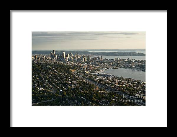 Capitol Hill Framed Print featuring the photograph Aerial View Of Seattle by Jim Corwin