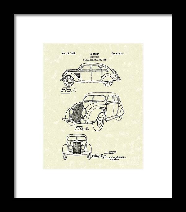 Breer Framed Print featuring the drawing Automobile 1935 Patent Art by Prior Art Design