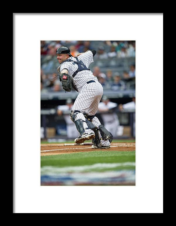 Brian Mccann Framed Print featuring the photograph Baltimore Orioles V New York Yankees 4 by Rob Tringali