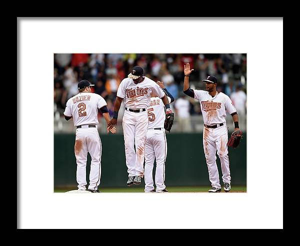 People Framed Print featuring the photograph Boston Red Sox V Minnesota Twins by Hannah Foslien