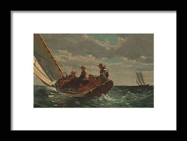 Winslow Homer Framed Print featuring the painting Breezing Up by Winslow Homer