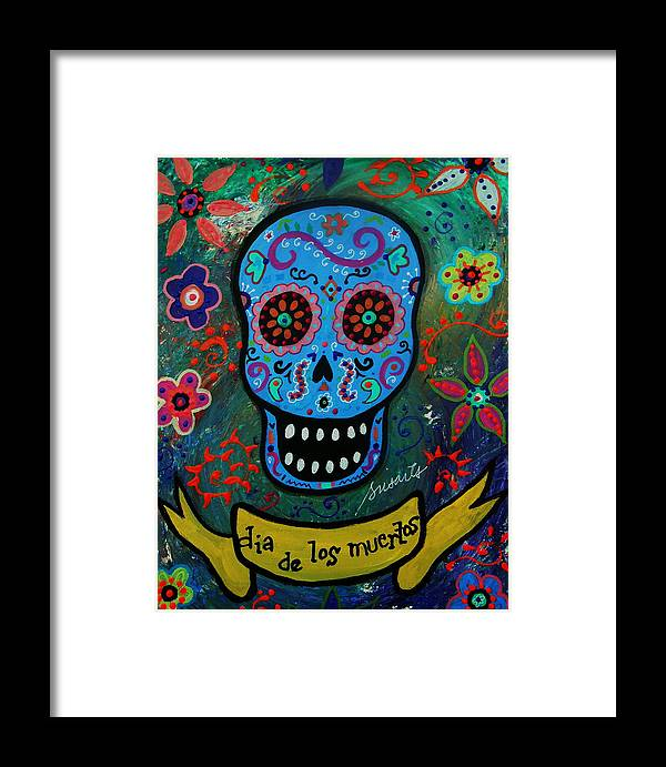 Skull Framed Print featuring the painting Calavera by Pristine Cartera Turkus