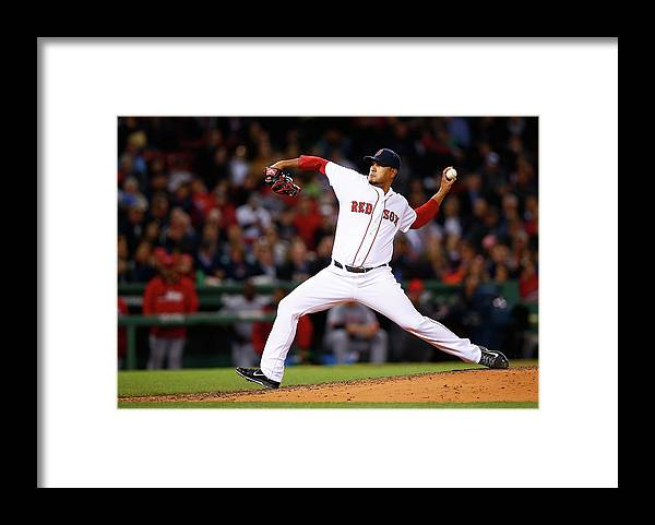 American League Baseball Framed Print featuring the photograph Cincinnati Reds V Boston Red Sox by Jared Wickerham