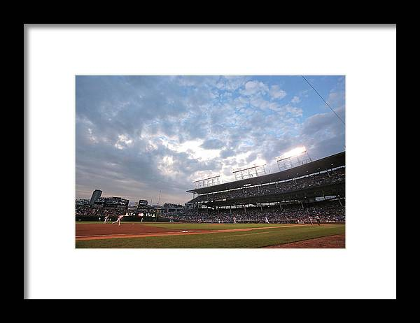 National League Baseball Framed Print featuring the photograph Cincinnati Reds V Chicago Cubs by Jonathan Daniel