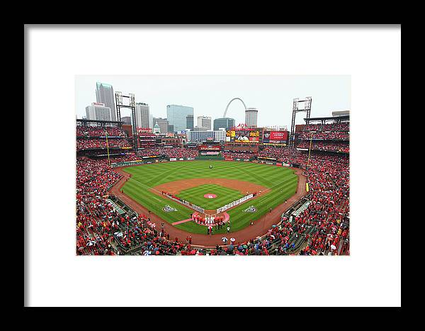 St. Louis Cardinals Framed Print featuring the photograph Cincinnati Reds V St. Louis Cardinals by Dilip Vishwanat