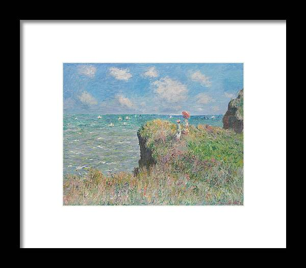 Claude Monet Framed Print featuring the painting Cliff Walk At Pourville by Claude Monet