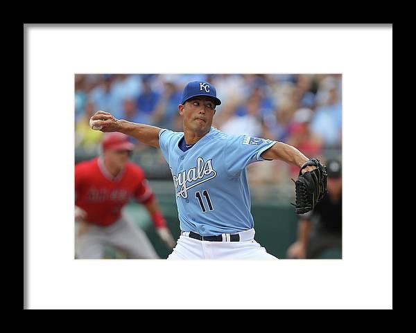 American League Baseball Framed Print featuring the photograph Los Angeles Angels Of Anaheim V Kansas by Ed Zurga