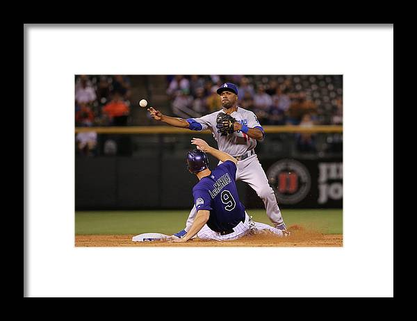 American League Baseball Framed Print featuring the photograph Los Angeles Dodgers V Colorado Rockies by Doug Pensinger