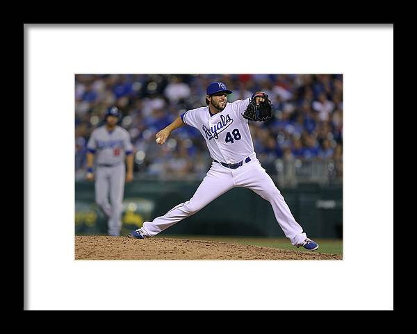 Ninth Inning Framed Print featuring the photograph Los Angeles Dodgers V Kansas City Royals by Ed Zurga