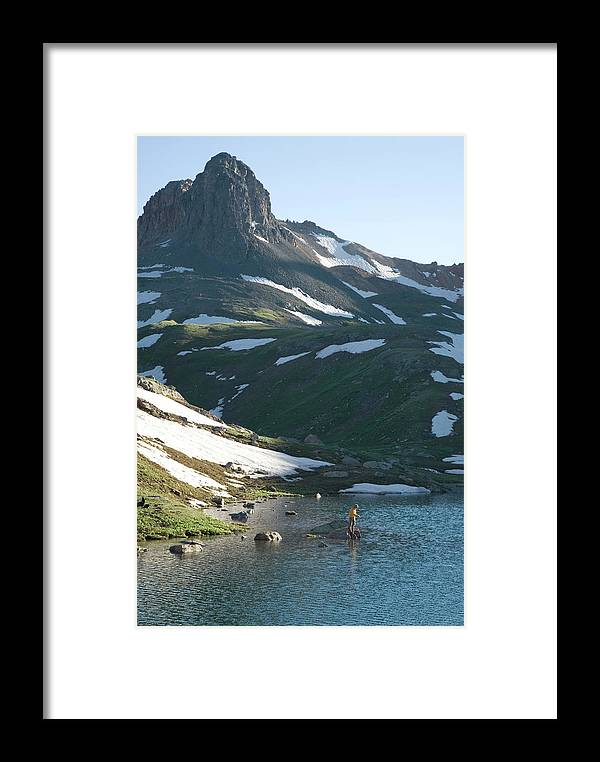 Alpine Framed Print featuring the photograph Man Fishing In Alpine Lake by Kennan Harvey