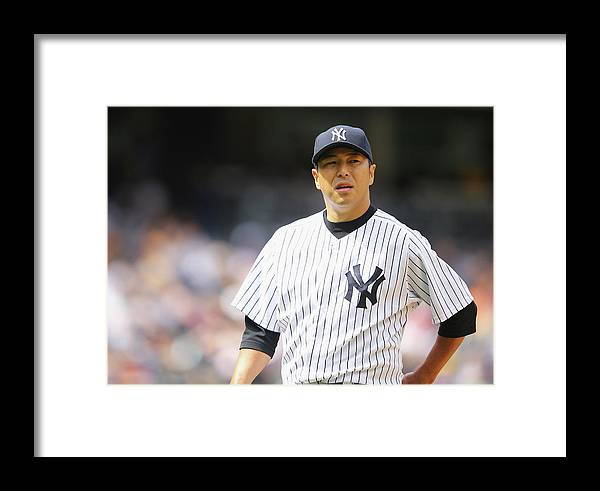 American League Baseball Framed Print featuring the photograph Pittsburgh Pirates V New York Yankees - 4 by Al Bello