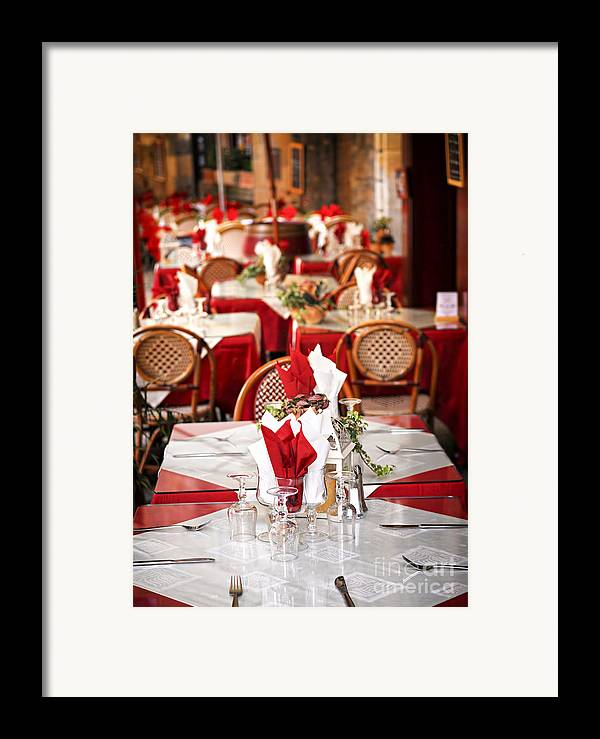 Restaurant Framed Print featuring the photograph Restaurant Patio In France by Elena Elisseeva