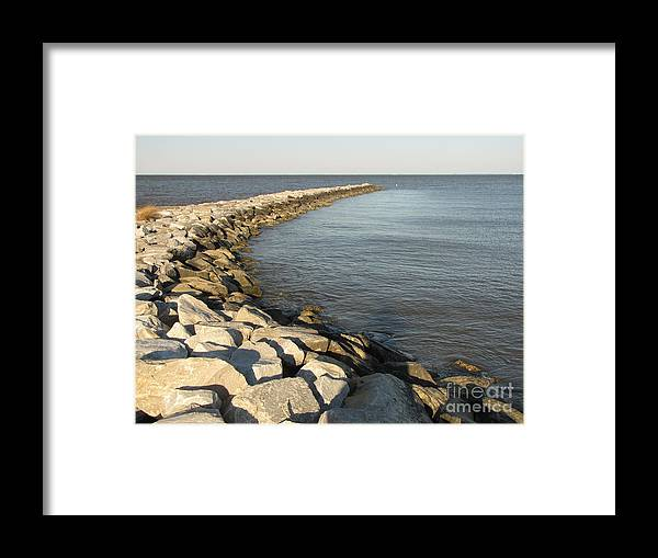 Schuminweb Framed Print featuring the photograph Rock Jetty At Sandy Point by Ben Schumin