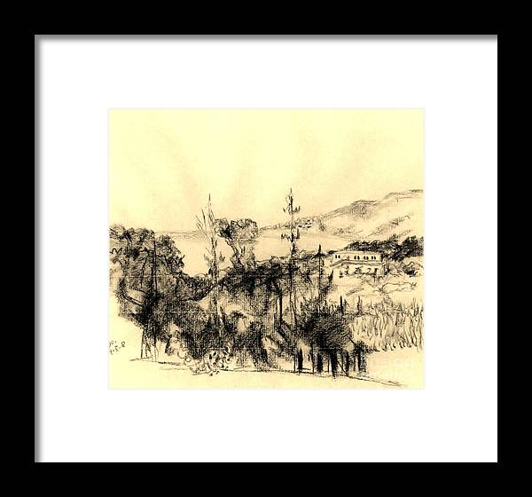 Landscape Framed Print featuring the drawing Seaview by Karina Plachetka