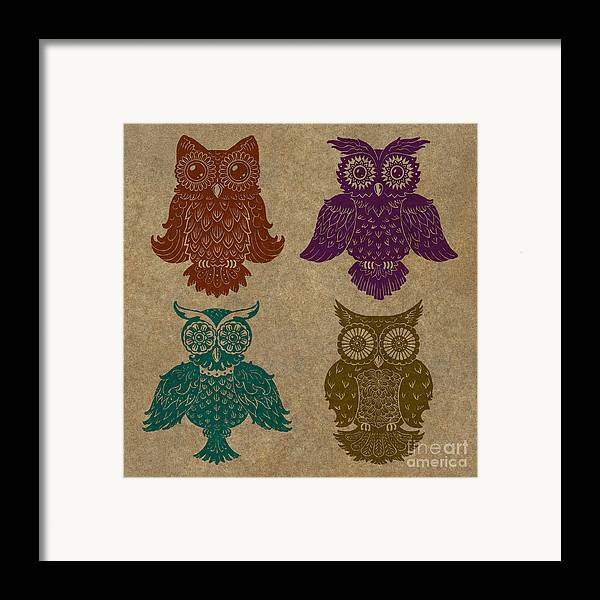 Owls Framed Print featuring the painting 4 Sophisticated Owls Colored by Kyle Wood