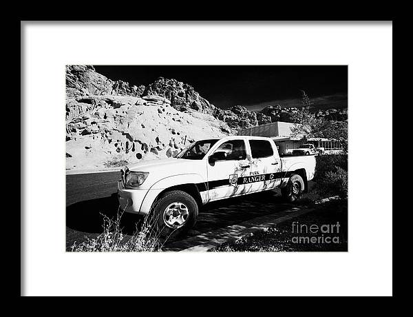 Valley Framed Print featuring the photograph State Park Ranger Vehicles At The Valley Of Fire State Park Nevada Usa by Joe Fox
