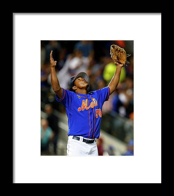 Ninth Inning Framed Print featuring the photograph Texas Rangers V New York Mets by Rich Schultz