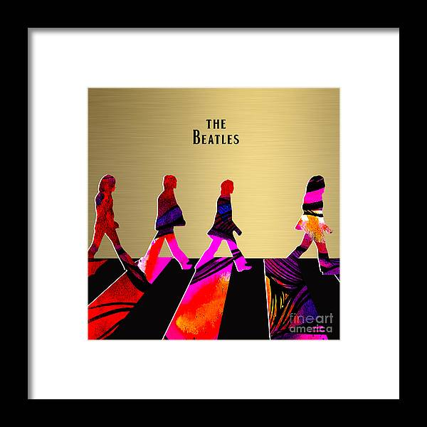Beatles Art Framed Print featuring the mixed media The Beatles Gold Series by Marvin Blaine