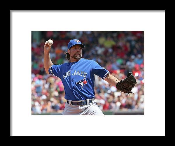 Three Quarter Length Framed Print featuring the photograph Toronto Blue Jays V Boston Red Sox by Jim Rogash