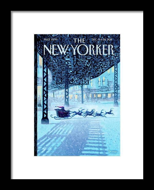 Santa Framed Print featuring the painting New Yorker December 19th, 2011 by Eric Drooker